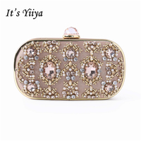 It's Yiiya 2018 Champagne Fashion Designer Diamonds Crystals Party Dinner Bags Prom Day Clutches Evening Bag GW8076