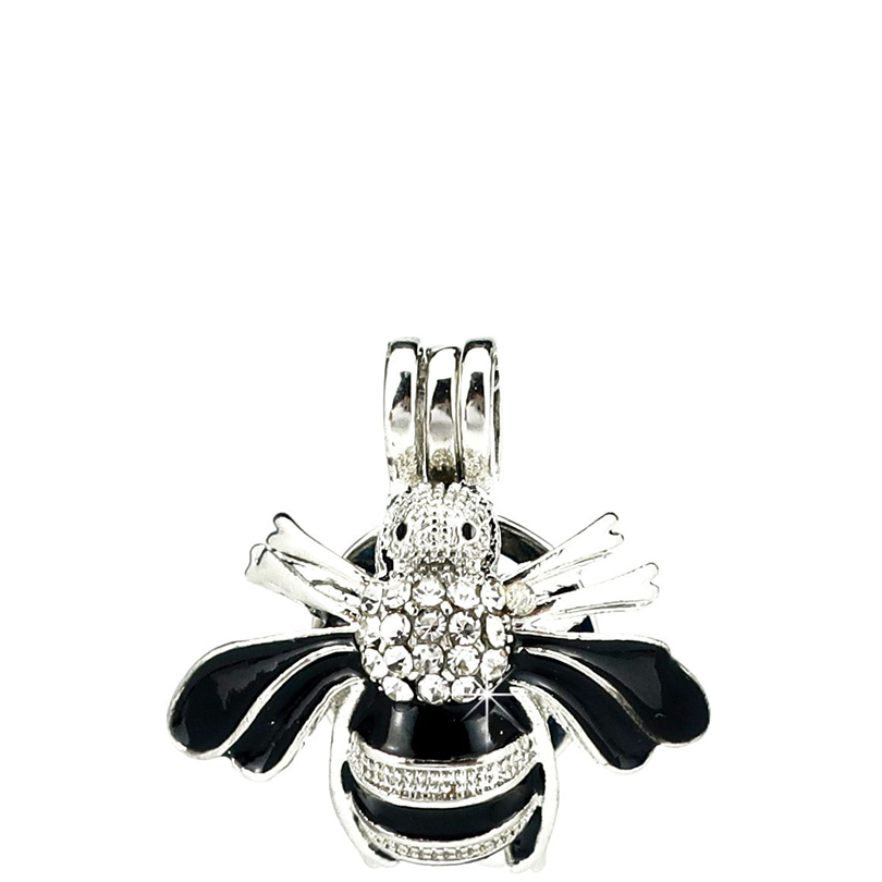 K1054 5pcs/lot Silver Enamel Bee Insect Beauty Rhinestone Beads Cage Pendant Locket Fairytale Party Essential Oil Diffuser