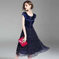 Women Summer Dresses European American Woman Silk Patchwork Mid Calf Brand Party Casual Bohemian Long Dresses