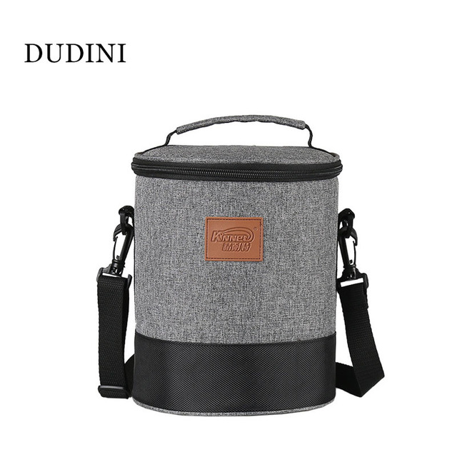 DUDINI Gray Fashion Lunch Bags Multifunction Carry Lunch Bags Women Oxford Cloth Small Barrel Shape Insulation Picnic Bag