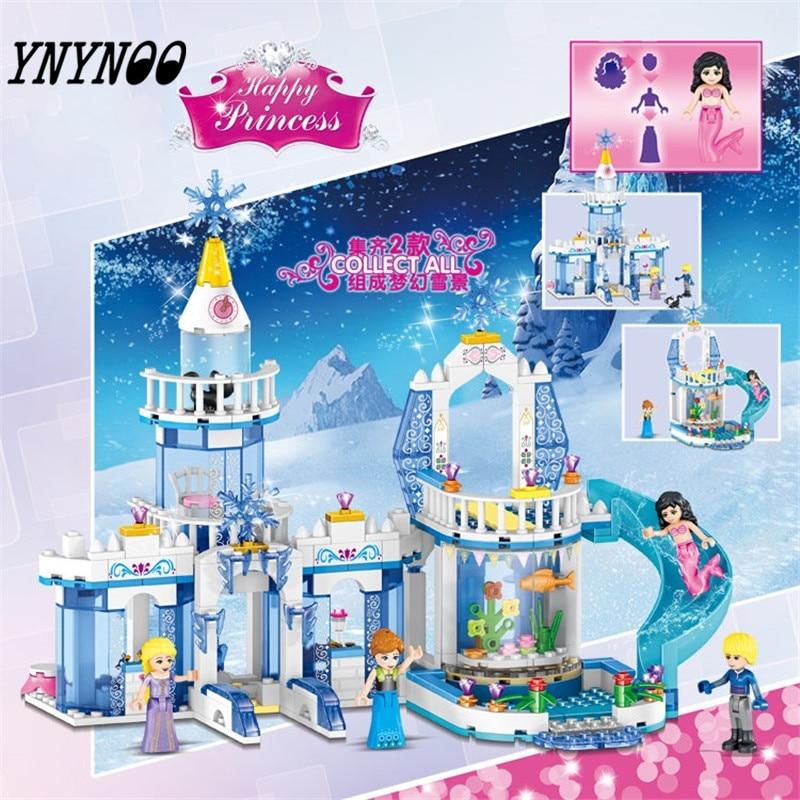 (YNYNOO) 344pcs Color Dream Snow Princess Elsa Ice Castle Princess Anna Set Model Building Blocks Gifts Toys Compatible 2 In 1