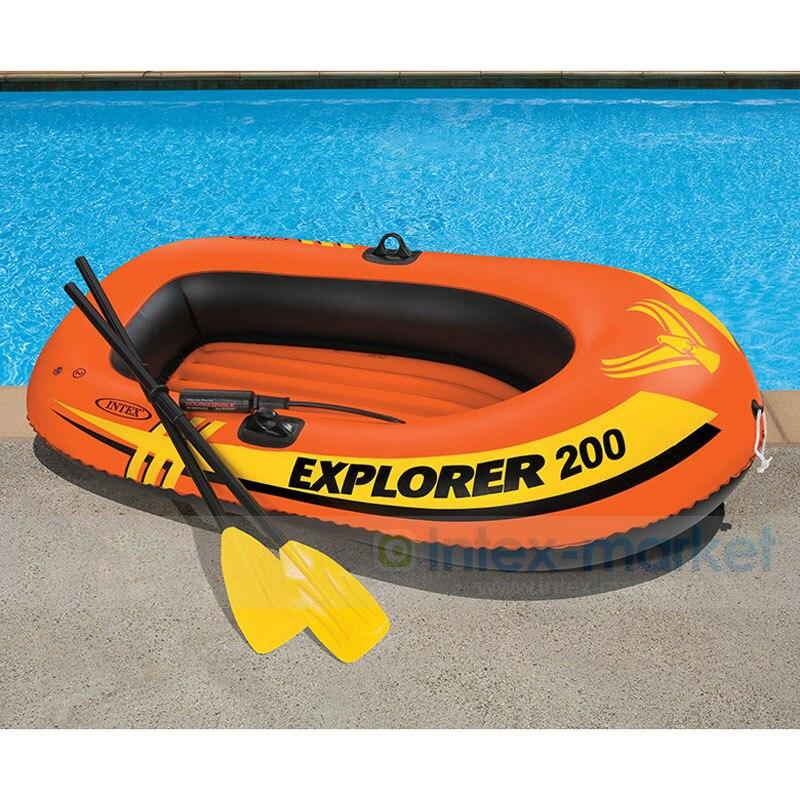 Bateau de pêche gonflable INTEX bateau à rames gonflable pour 2 personnes avec pièces de rechange pompes à rames bateau en caoutchouc Double