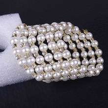 Elegant Multi-Layer Winding Simulation Pearl Bracelet Inlaid Rhinestone Fashion Classic Bracelets For Women Jewelry Gifts