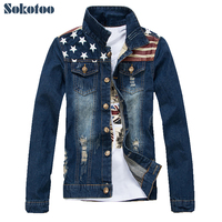 Sokotoo Men's casual stars and strips print patch denim jacket American flag slim holes ripped coat Outerwear