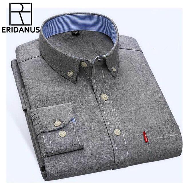 6feb9f07b 2017 الربيع الرجال قميص العلامة التجارية عارضة طويلة الأكمام قمصان رجالي  أكسفورد رفض طوق الصلبة اللباس