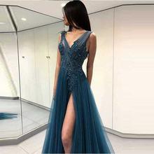 Сексуальное вечернее платье с v образным вырезом Длинные вечерние