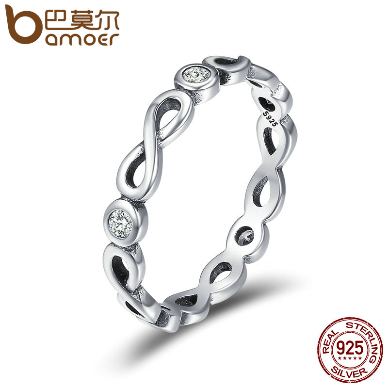 цена BAMOER Authentic 100% 925 Sterling Silver Infinity Blessings Endless Love Finger Rings for Women Sterling Silver Jewelry SCR181