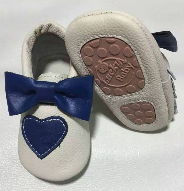 wholesale  heart 10 pairs lot genuine leather baby moccasins bow cute baby shoes toddler hard rubber sole first walker baby bulk