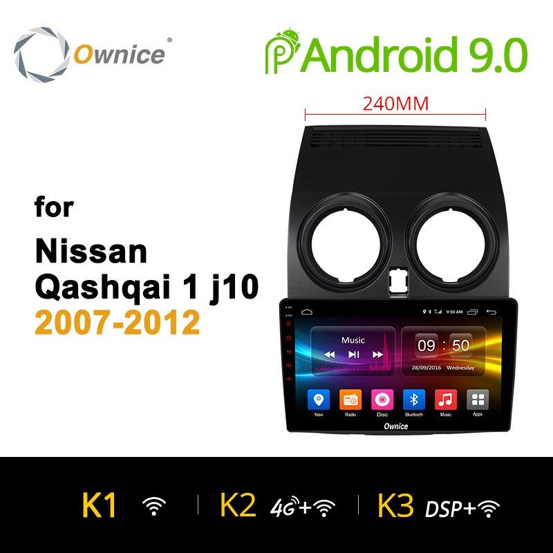 Ownice K1 K2 K3 Octa Núcleo Android 9.0 Carro estéreo de rádio para Nissan Qashqai 2007 2009 2010 2011 2012 dvd jogador GPS 32G 4G LTE