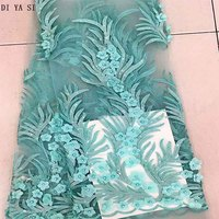 New Fashion 3d Lace Fabric With Beads Embroidered Mesh Lace Fabric for Women Nice Dress African Lace Fabric