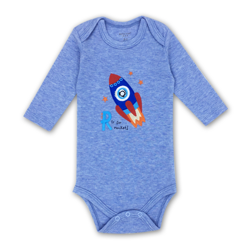 Baby Boys Clothes 3-24 Months Long Sleeve Cute Rocket Embroidery Autumn One Pieces Baby Rompers