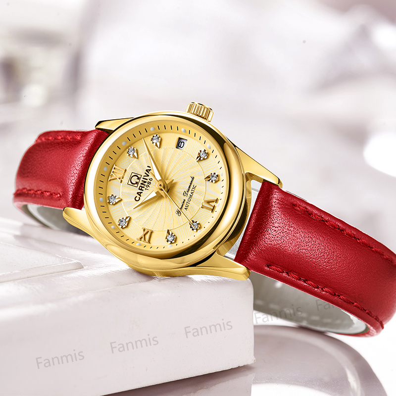 Carnival Mechanical Watch Women Sapphire Red Leather Strap Waterproof Ladies Gold Wristwatch Windmill Relogio Feminino