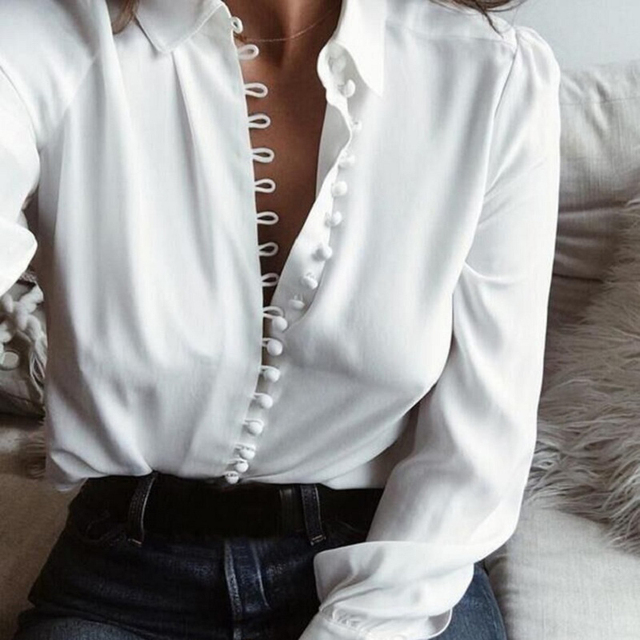 Lossky Fashion Casual Solid Color Ladies Office Tops Sexy Buttons Long Sleeve Blouse 2019 New Spring Women Chiffon White Shirt by Lossky