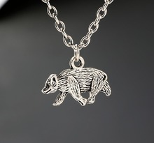 Brown Bear Necklaces Vintage Alloy Jewelry Antique Silver Pendant Necklace Charms Christmas Gift New 1PCS