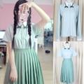Two Piece Japanese Sweet School Uniform Costume Full Sleeve Mint Green Girls  Lolita Cosplay Dress