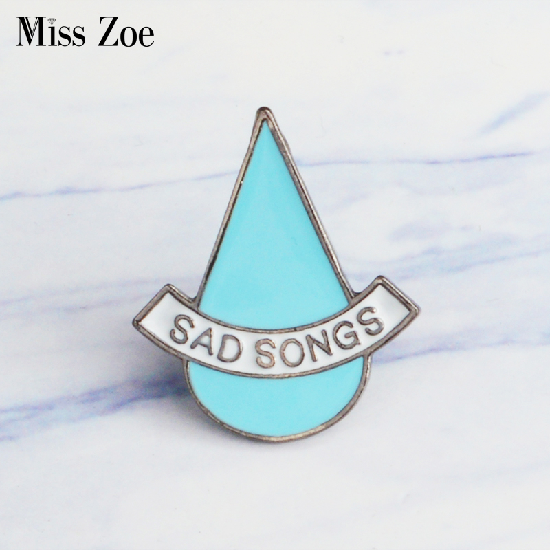 Sad songs tear drop Enamel Pin brooch Lapel Pin Simple icons Pins Button Badge Denim Jeans Cartoon fashion Jewelry Gift image