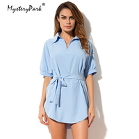 MysteryPark Irregular Tie Waist Shirt Dress Women Spring 2018 Wrap Dress Short Sleeve Turn Down Collar