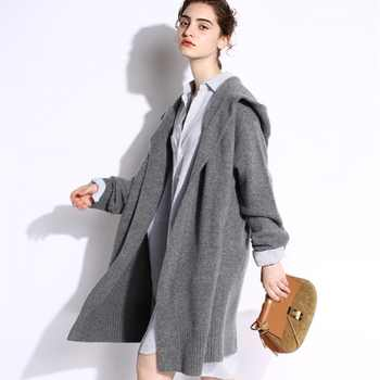 BELIARST 18 Autumn and Winter New Pure Cashmere Sweater Loose Thick Sweater Coat Women In the Long Coat Hooded Knitted Cardigan - DISCOUNT ITEM  65% OFF All Category