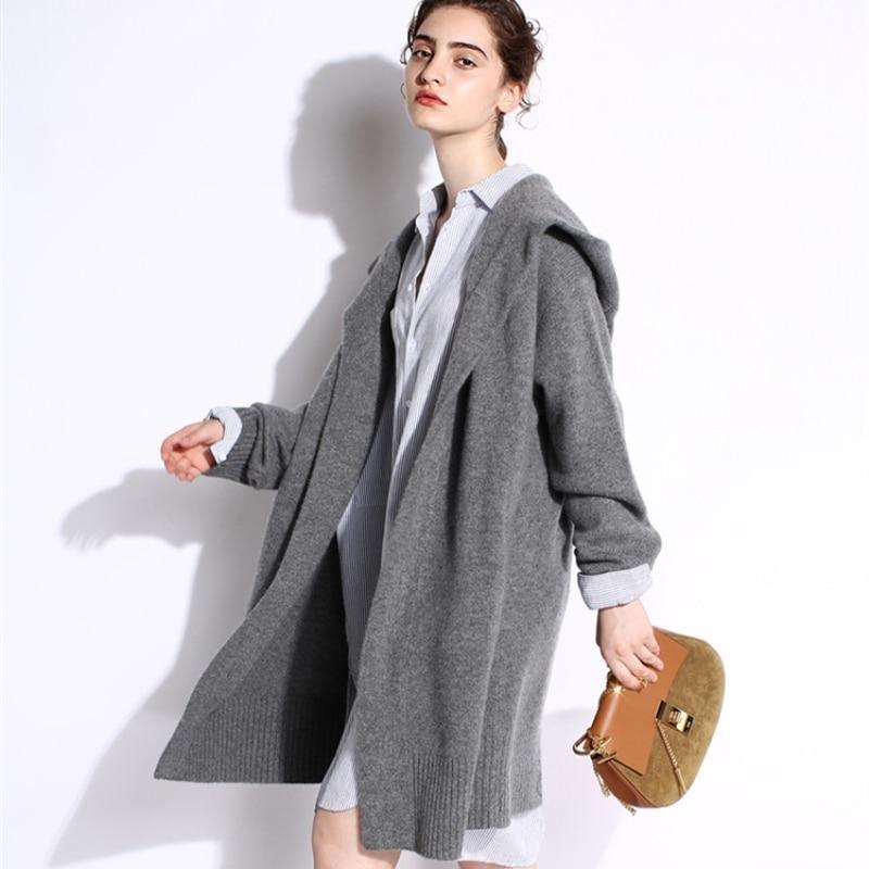 Beliarst 18 가을, 겨울 새로운 순수 캐시미어 스웨터 느슨한 두꺼운 스웨터 코트 여성 긴 코트 후드 니트 카디 건-에서가디건부터 여성 의류 의  그룹 1