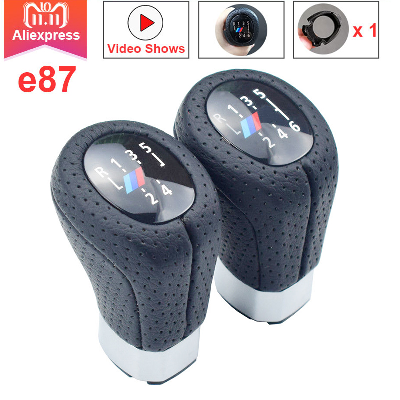 For BMW E87 PU leather 5/6 Speed Left Right Drive Gear Shift Knob Head With Boot Cover Stick Shifter Lever Real Hole