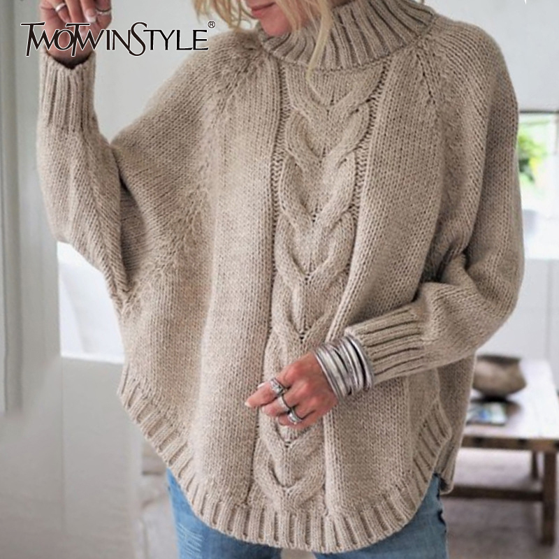 TWOTWINSTYLE Autumn Thick Sweater For Women Turtleneck Batwing Sleeve Casual Pullovers Sweaters Female 2020 Fashion New