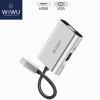 WIWU Type c to HDMI VGA Adapter USB C for MacBook Pro 4K HDMI Thunderbolt 3 for Samsung Huawei Type c to VGA Adapter