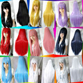80cm long straight girl's anime cosplay wigs,women's black/blond/pink/red full hair wig,silver white synthetic hair wigs peruca