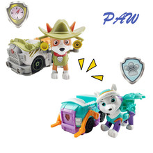 New Paw Patrol Dog Tracker Puppy Pull Back Music Car Patrulla Canina PVC Doll Toys Action Figure Model Toy