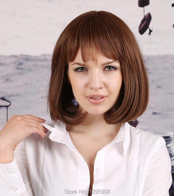 Korean Girl Bobo Head Wigs Medium Brown Wig Short Straight