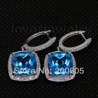 Vintage Cushion 10x10mm 14Kt White Gold Diamond Bule Topaz Earrings,Drop Bule Topaz Earrings For Women E0006
