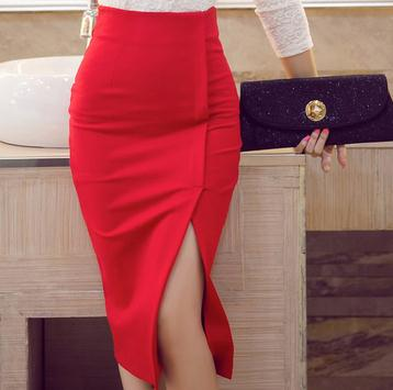 744a16d7439 Hot Sale High Quality Women Sexy Mid Pencil Skirt Plus Size Solid Color High  Waist Bodycon OL Ladies Slit Skirt Free Shipping