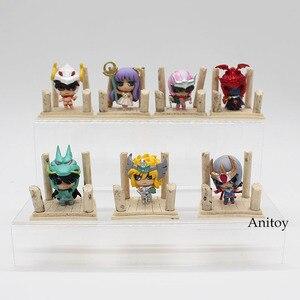 Image 2 - 7pcs/set Anime Saint Seiya Egg Box Q Version The Gold Zodiac PVC Action Figures Toys Dolls Anime SS004
