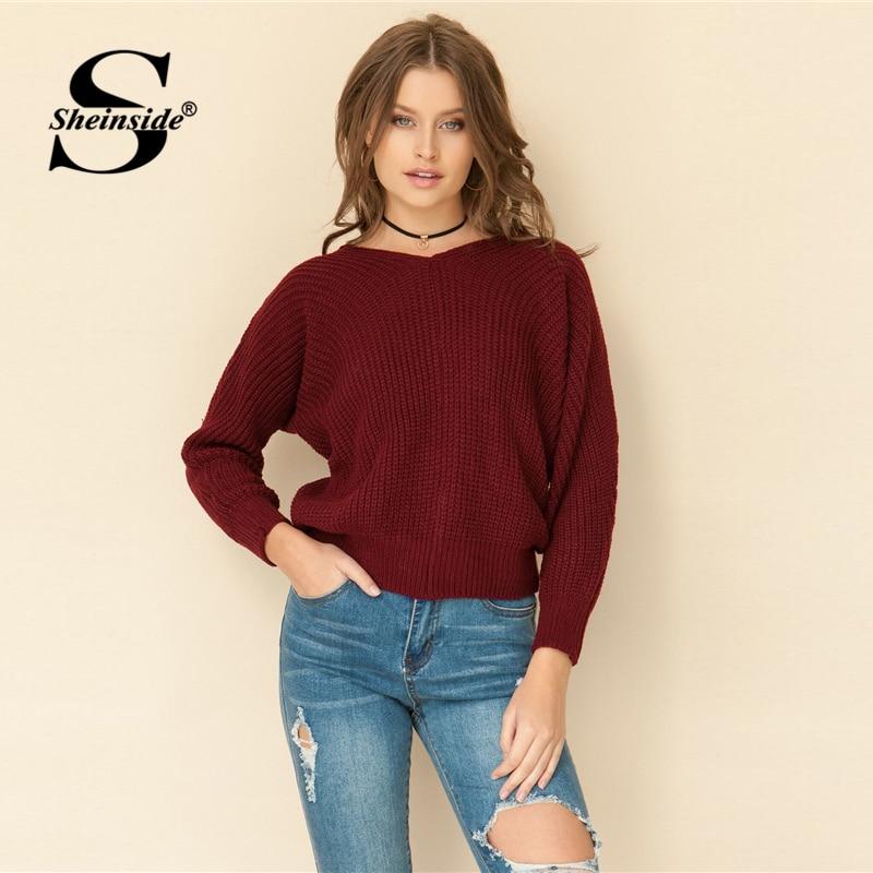 Sheinside Burgundy Knitted Sweater