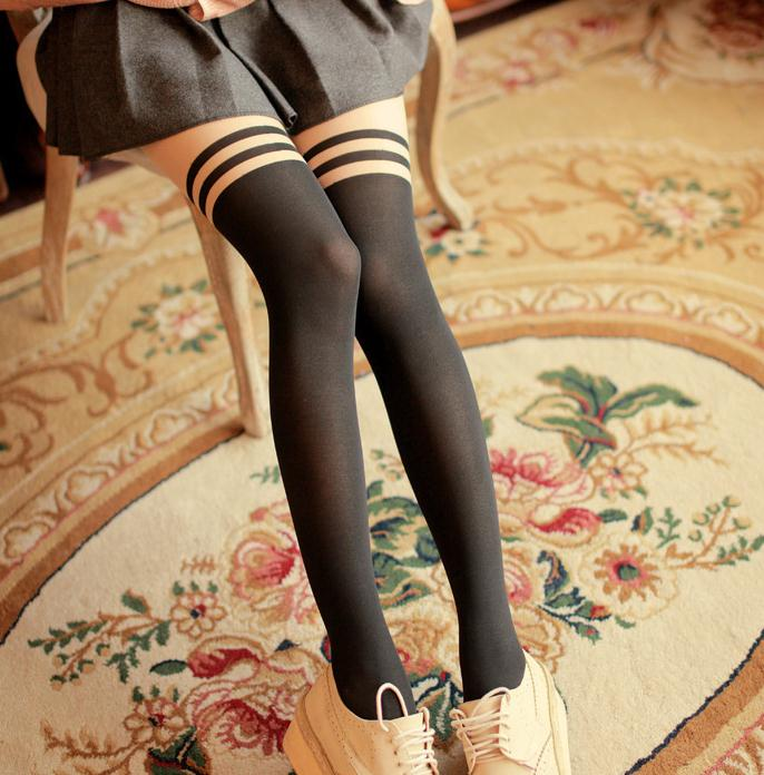 Popular In Japan Girl Women Sexy Velvet Double Stripes Tights Fake High Stocking Pantyhose Mock  High Knee Tattoo Tights