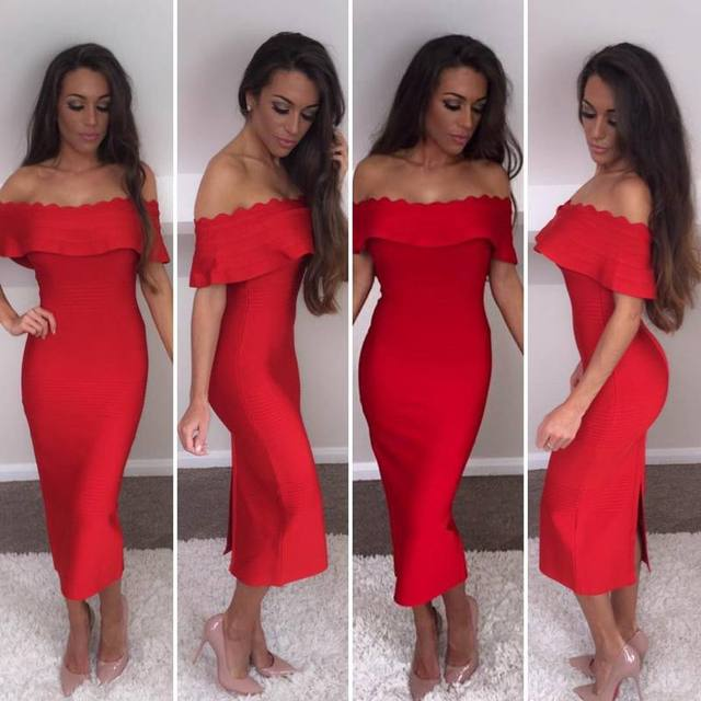 2016 new high quality autumn factory girls  dress wholesale red lilac red  blue black yellow off the shoulder bandage dresses 643e070c83b3