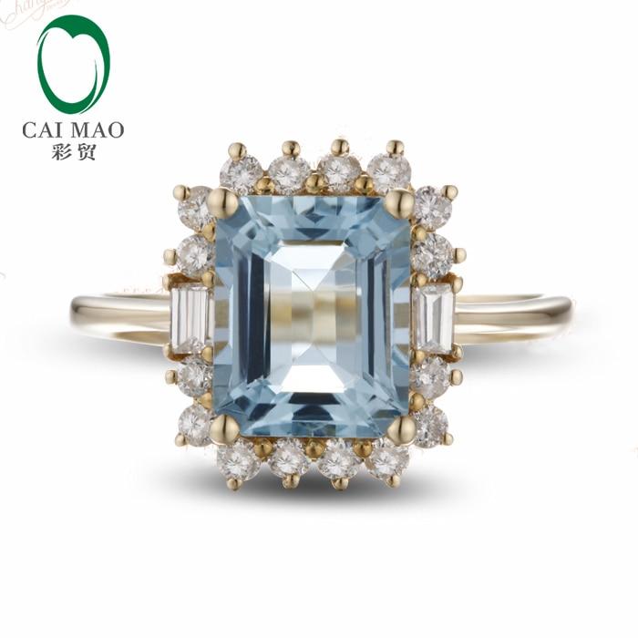 Caimao 14CT золото натуральный синий 1.81ct Аквамарин алмаз обручальное кольцо