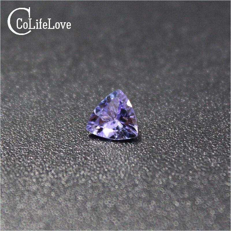 100% naturel tanzanite pierres précieuses en vrac 5mm * 5mm trangle forme véritable VS tanzanite lâche pierre