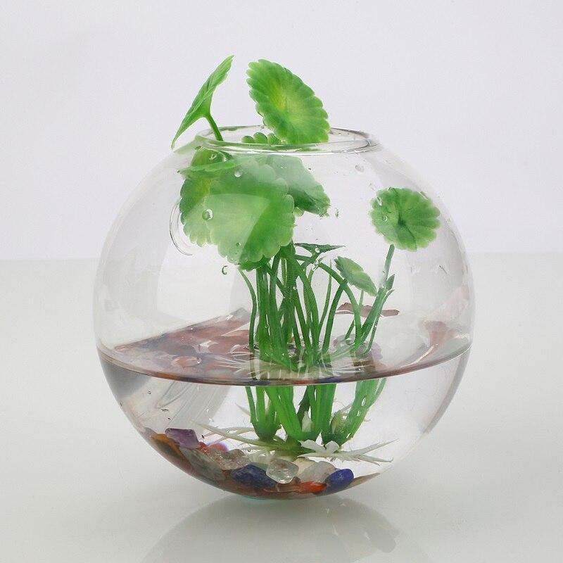 1Pc 7*8CM Wall Hanging Flower Pot White High Borosilicate GlassTransparent Glass Glass Ball Vase Container Home Garden Decor
