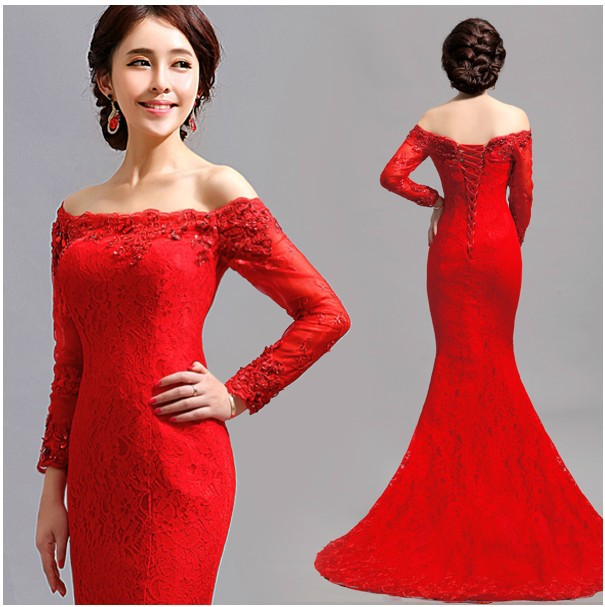 35e2d54d5ea2 Free Shipping Red Lace Mermaid Dress Long Sleeve Maxi Off the Shoulder  Crystal Evening Prom Formal Wear Plus Size S XXXL SD185-in Evening Dresses  from ...