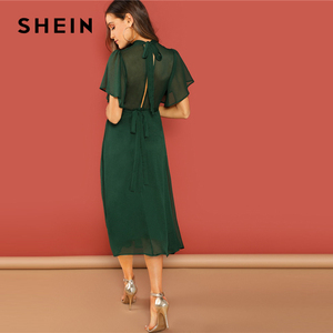 Image 2 - SHEIN Weekend Casual Green Flutter Sleeve Short Sleeve Split Tie Back Solid Stand Collar Dress Women Autumn Elegant Dress