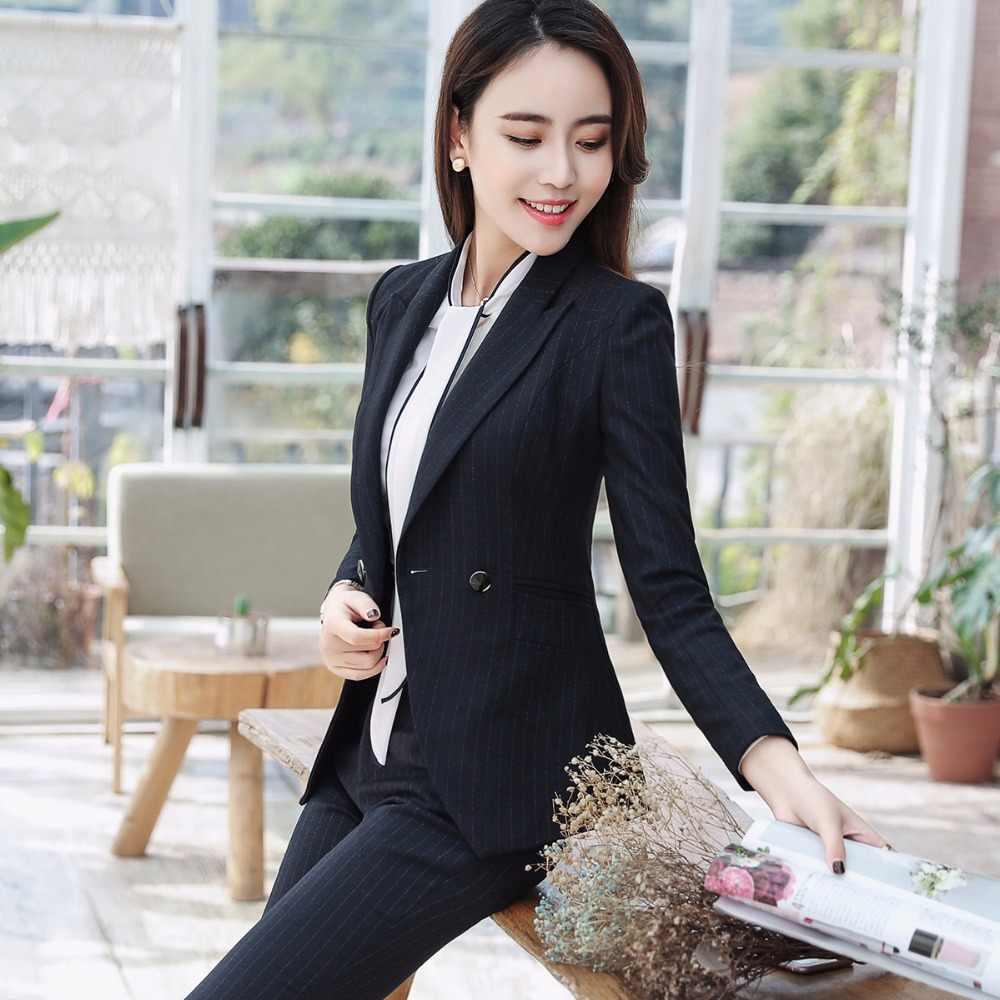 2018 高品質女性パンツスーツビジネスオフィスレディ仕事正式な 2 ボタンブレザーとパンツ 2 枚セット