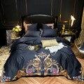 Juego de cama azul marino algodón egipcio Ultra suave tamaño Queen King 4/7 piezas funda de edredón bordado Premium sábana almohada shams