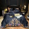 Ultra Zachte Egyptische Katoen Marine Blauw Beddengoed set Queen King size 4/7 PCS Premium Borduurwerk dekbedovertrek Bed sheet kussenhoezen