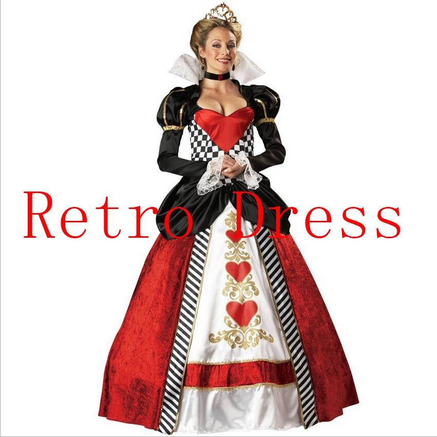 Snow White Poker Queen Costume Queen Of Hearts Costume Halloween Costume For Women Alice In Wonderland Fancy Party Costume
