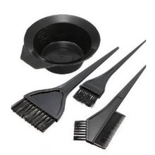 4Pcs/Set Hot Sale Hair Color Mixing Bowls Black Plastic Hair Dye Colouring Brush Comb Bowl Hairdressing Styling Tools(China)