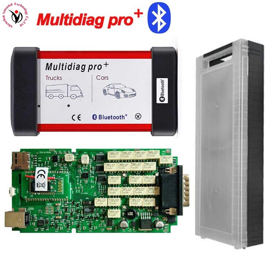 Новый VD TCS CDP Multidiag Pro + Bluetooth с одной зеленой платой PCB Чип + пластиковая коробка для автомобилей грузовиков OBD2 сканер диагностический инструме