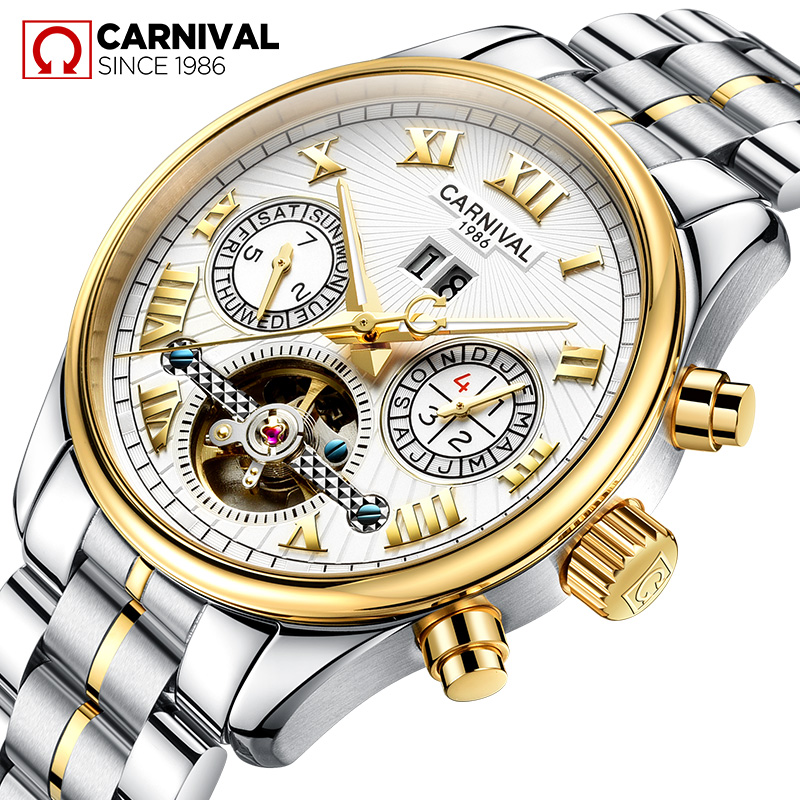 Carnival Business Tourbillon Automatic Watch Men Stainless Steel Waterproof Wristwatches Mens Luminous Mechanical Watches Clock tevise men watch black stainless steel automatic mechanical men s watch luminous waterproof watch rotate dial mens wristwatches