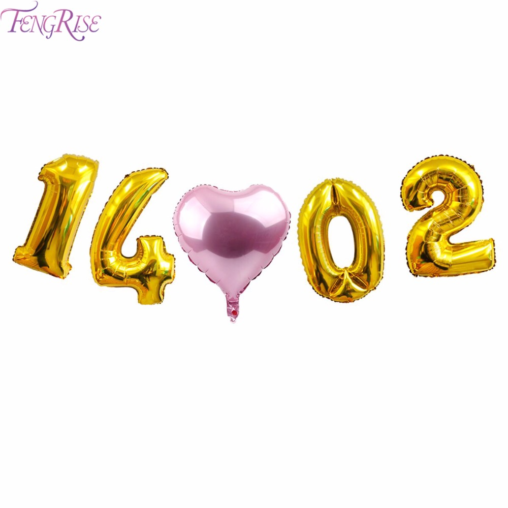 FENGRISE Wedding Balloons 18 32inch Aluminium Foil Balloons Customized Save the Date Sign Wedding Decor Birthday Party Supplies