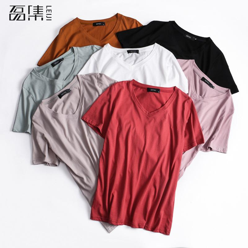 Women Tshirt Summer Plus Size Cotton Casual 7 Colors V-neck T Shirt For Lady Girl Top Tee 5XL
