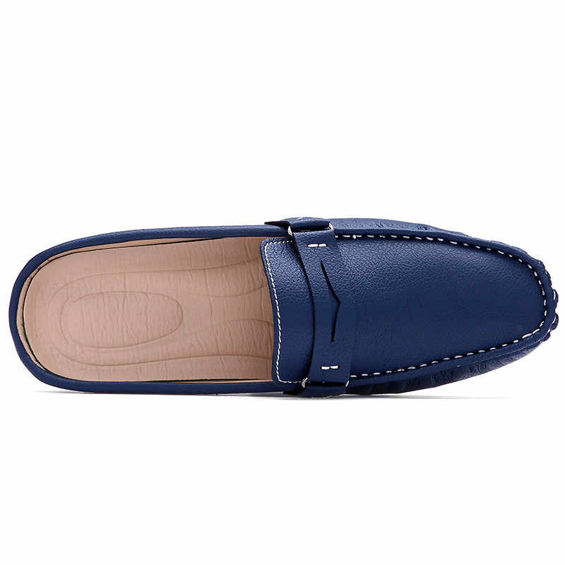 c6cad28f4b9d7a ... Men S Sandals Backless Leather Slippers Shoes Pedal Doug Half Tide - Lazy  Summer Mens Driving Loafers ...